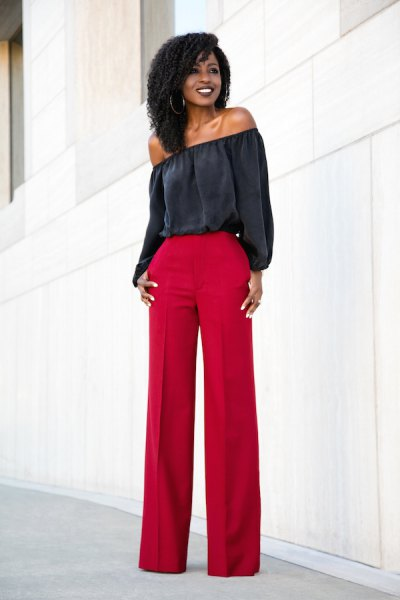 black of the shoulder blouse with red leggings