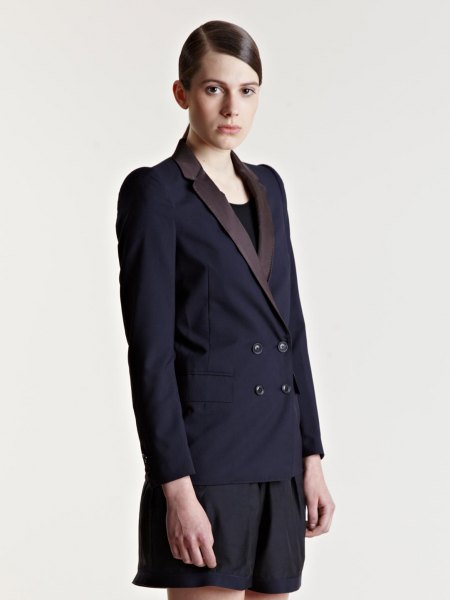 black double breasted suit jacket with matching floating shorts