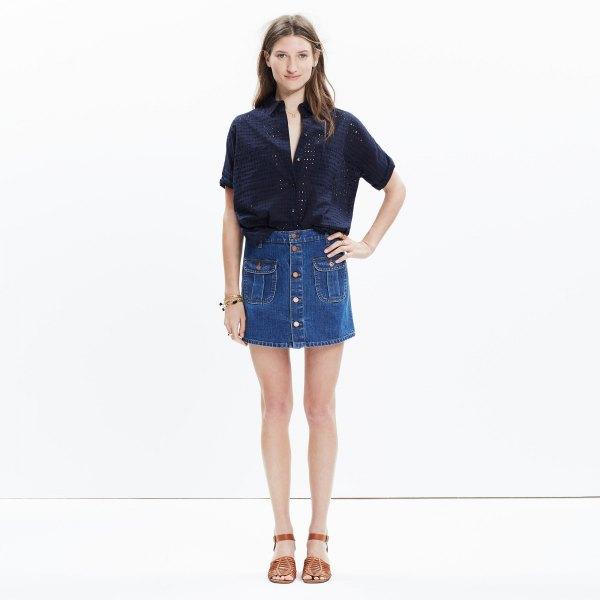 black short sleeve shirt with blue button front denim shirt