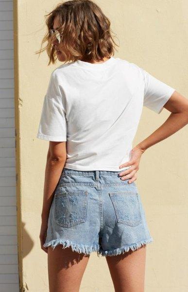 white t-shirt with light blue denim card