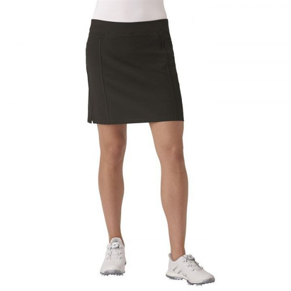 whitish tee with black skirt