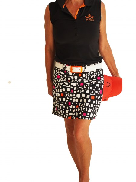 black sleeveless polo shirt with red and white printed shirt