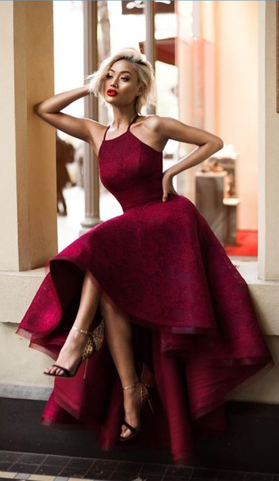 red high low dress glamor
