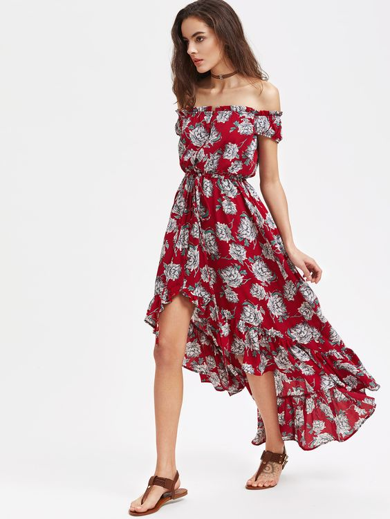 red high low dress floral from shouler