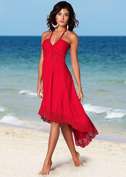 red high low dress halter neckline
