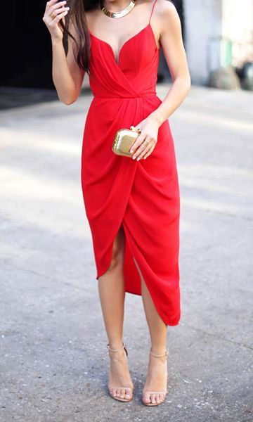 red high low dress party