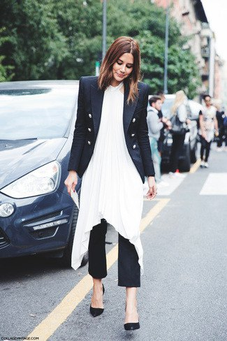 double breasted blazer with white dress with high sides and black pants