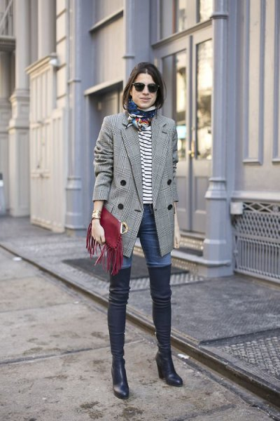 gray plaid double breasted blazer with white and black striped tee and boots