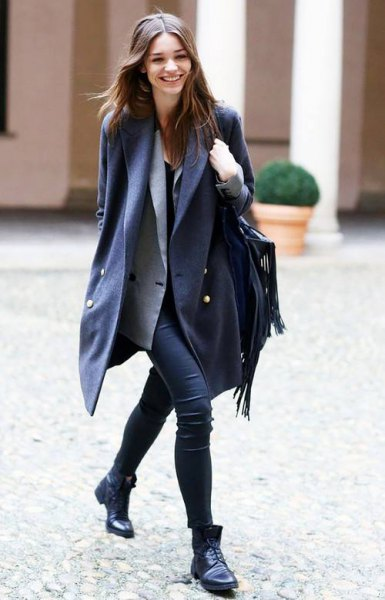 black double breasted long wool blazer with gray vest and slim jeans