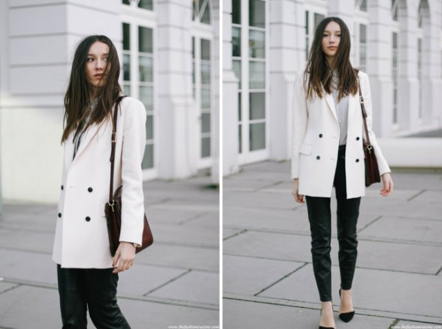 white double breasted long blazer with gray sweater black jeans