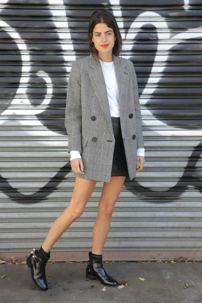 gray plaid oversized blazer with white sweater and black mini skirt