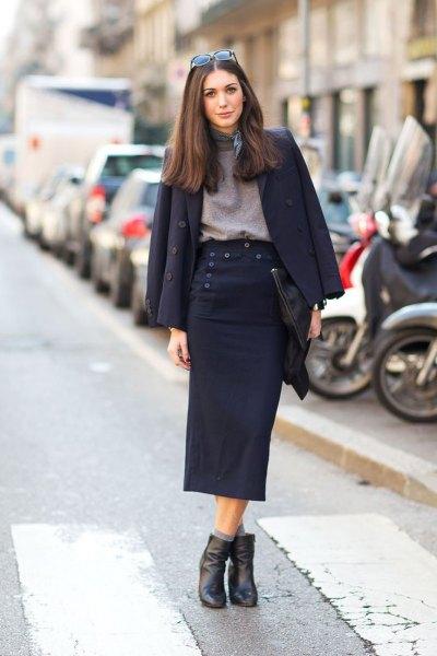 black wool blazer with gray mock neck sweater midi skirt