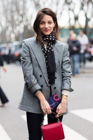 gray blazer with black and white polka dot scarf