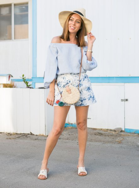 of shoulder blouse white floppy hat