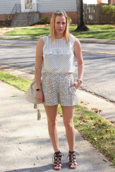 white polka dot ruffle sleeveless top and floral shorts