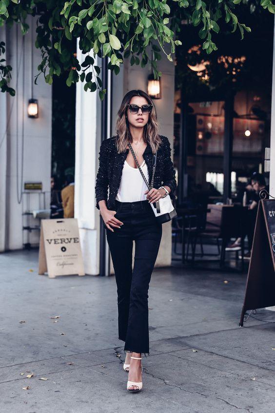 boucle jacket black white