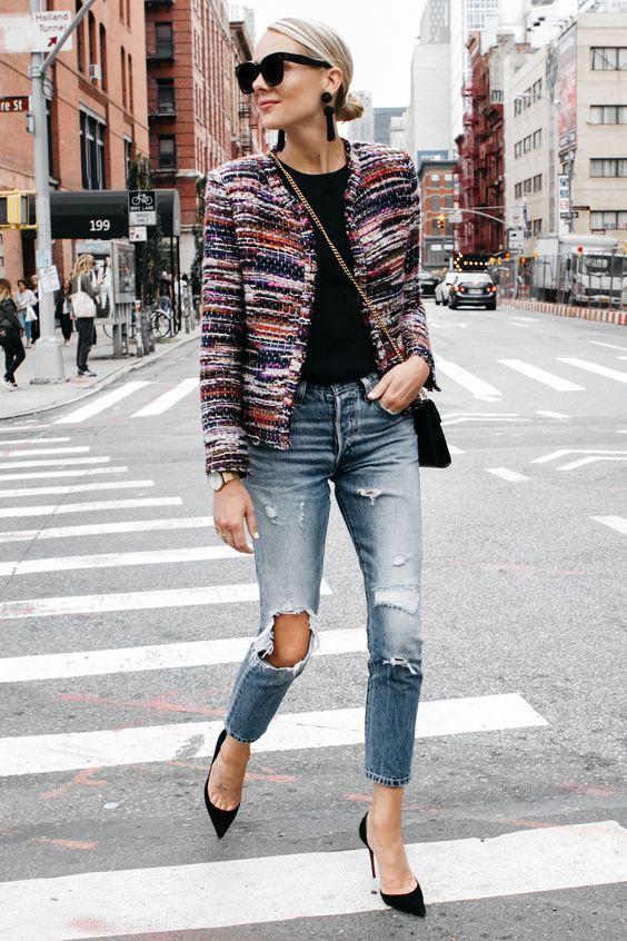 boucle jacket colorful