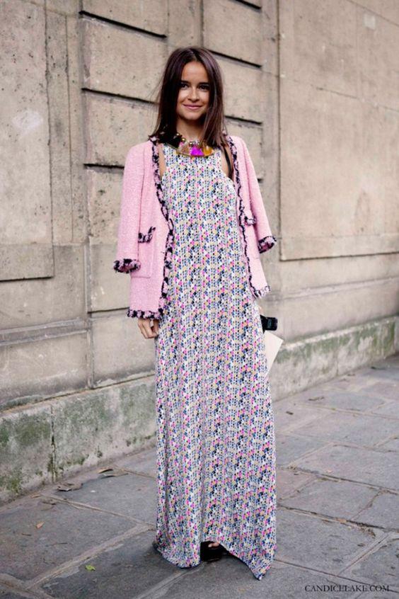 boucle jacket maxi dress
