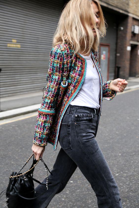 boucle jacket colorful retro