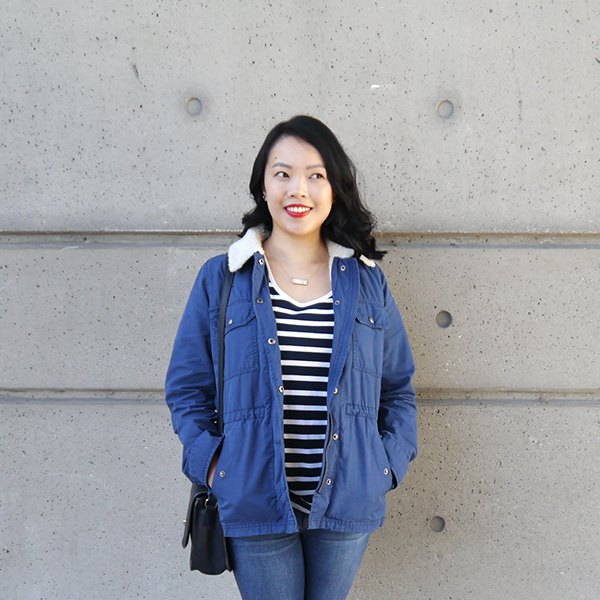 blue sherpa lined jacket with striped v-neck tee