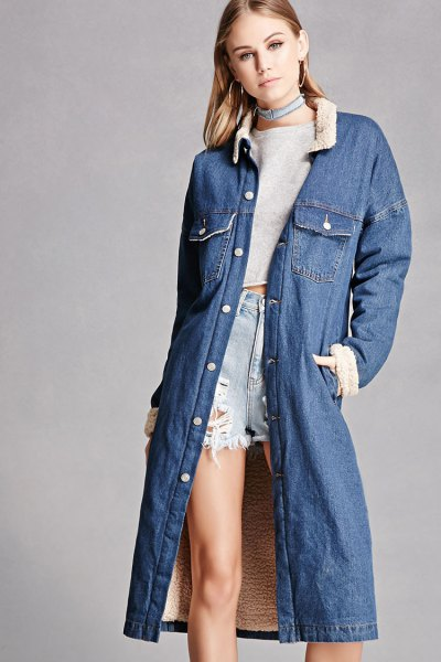 blue long sleeve jacket with cropped sweater and shorts