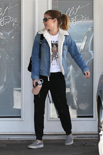 blue denim sherpa lined jacket with white print tee and jogging pants