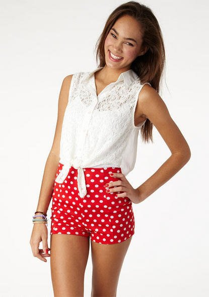 white knotted lace sleeveless top with red polka dot shorts