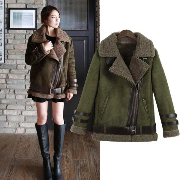 dark green coat with black mini chiffon pleated skirt