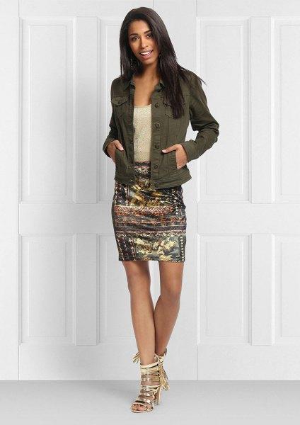 green denim jacket with gold printed bodycon mini skirt