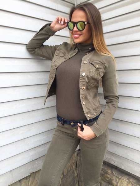 denim jacket with all green outfit