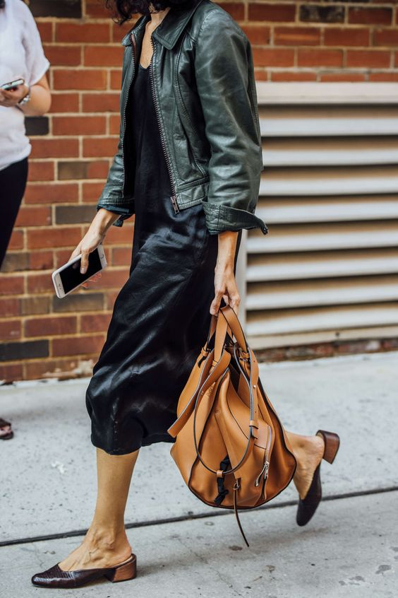 green leather jacket slip dress