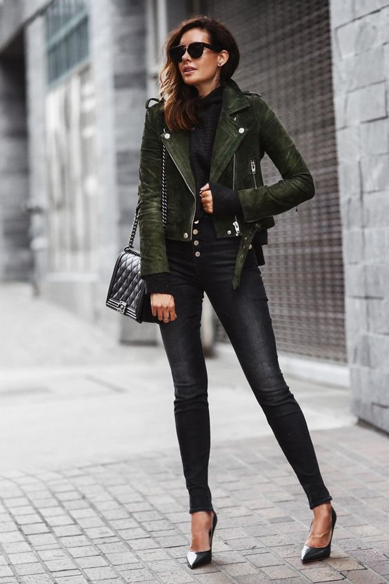 green leather jacket all black