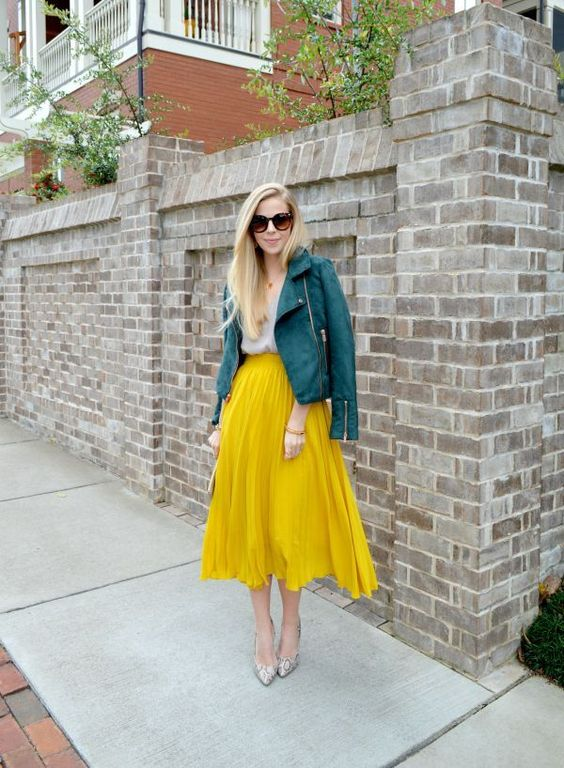 green leather jacket yellow skirt