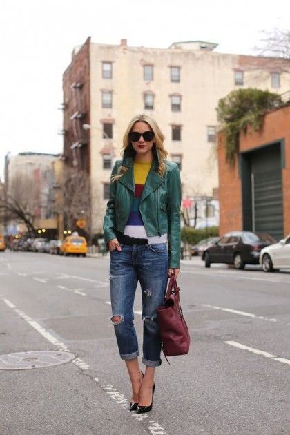 green leather jacket striped sweater