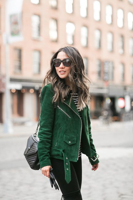 green leather jacket striped shirt