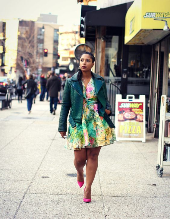 green leather jacket colorful dress