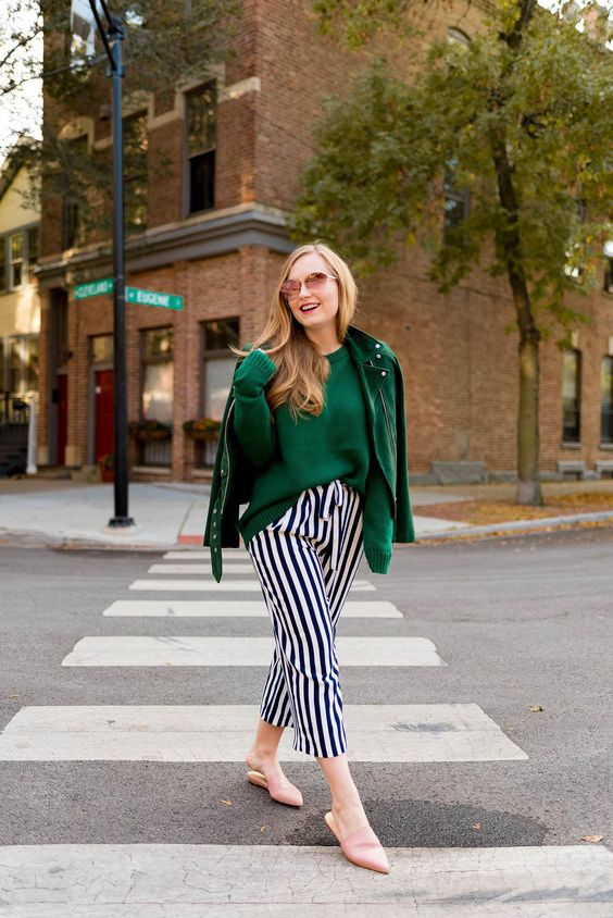 green leather jacket striped pants