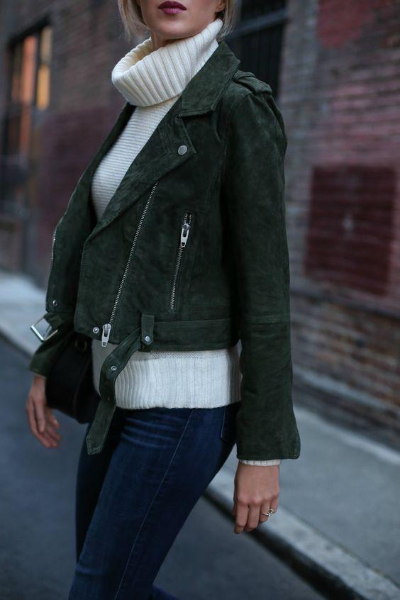 green leather jacket white turtleneck
