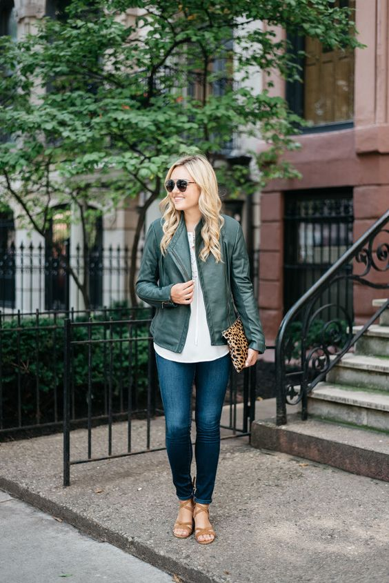 green leather jacket leopard