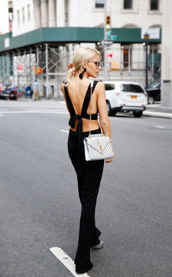 backless jumpsuit black metallic detail