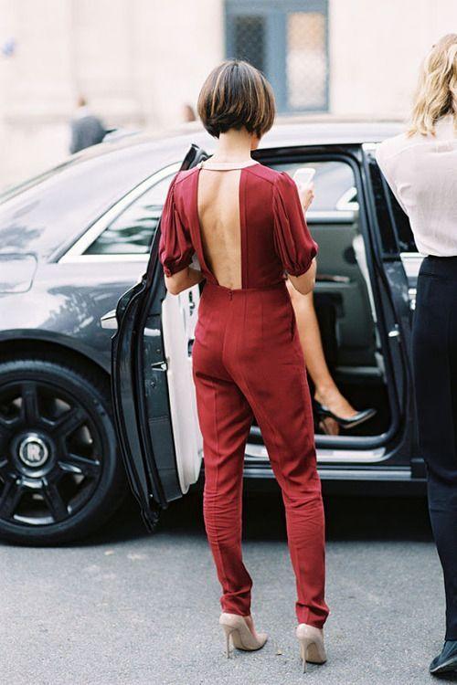 backless jumpsuit burgundy