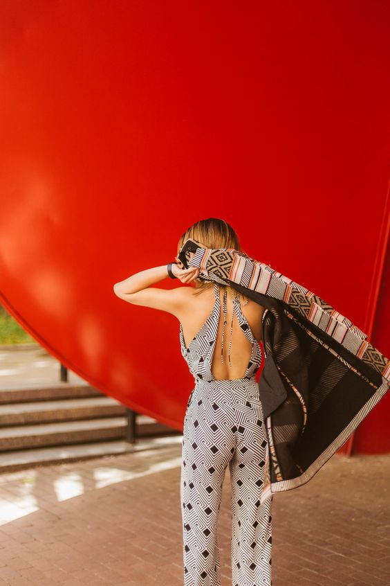 backless jumpsuit patterned