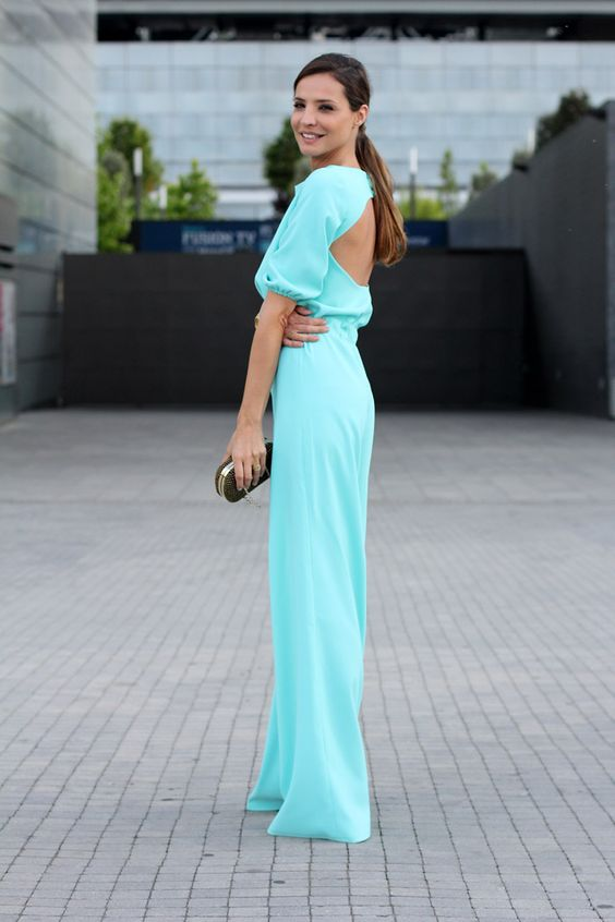 backless jumpsuit turquoise