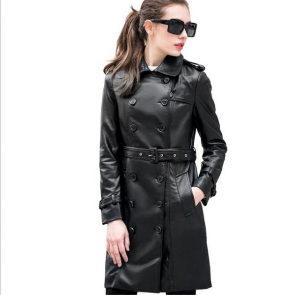 black buttoned leather belt long jacket with skinny jeans