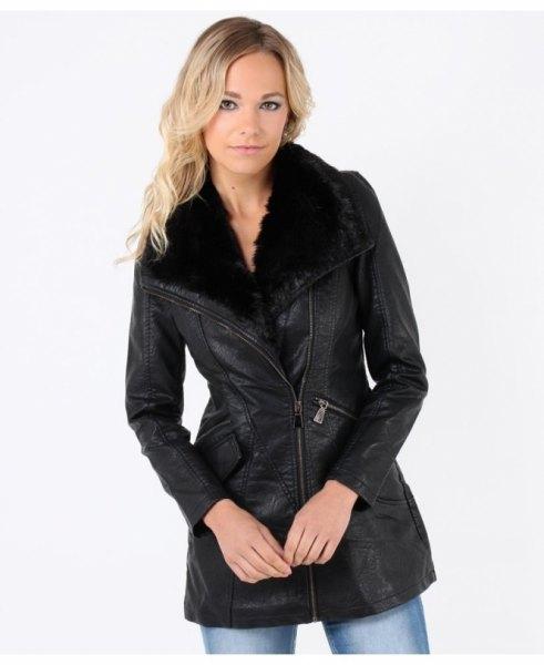 black leather jacket in faux fur