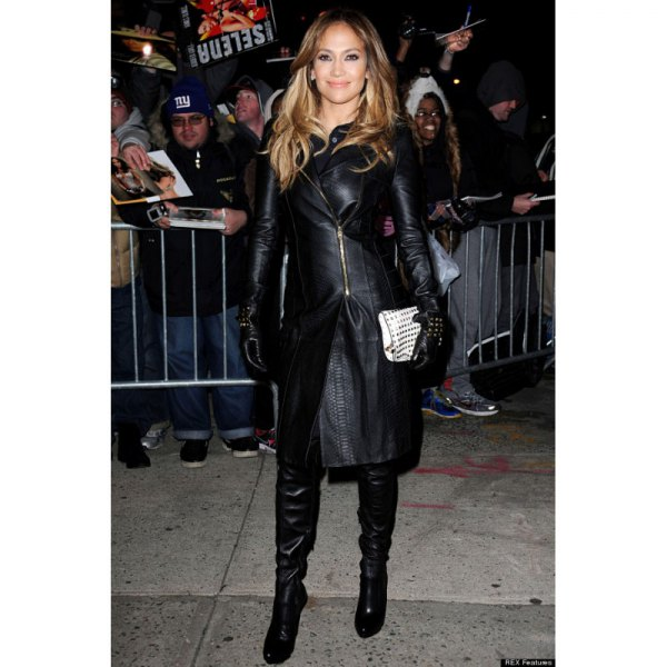 black leather skirt with knee-high boots