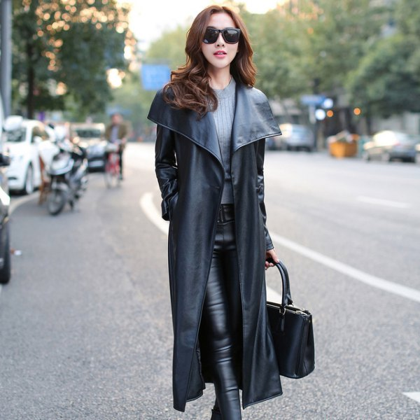 long fur with gray ribbed sweater black leather pants