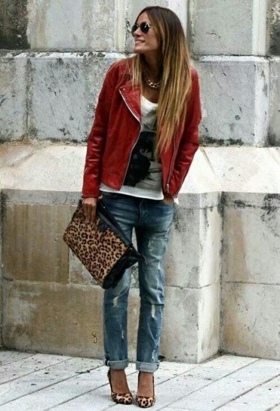 brown leather coat with white print on boyfriend jeans