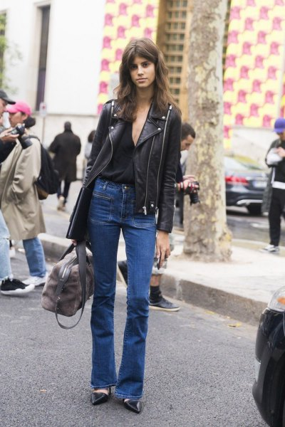 black leather jacket with flared blouse jeans