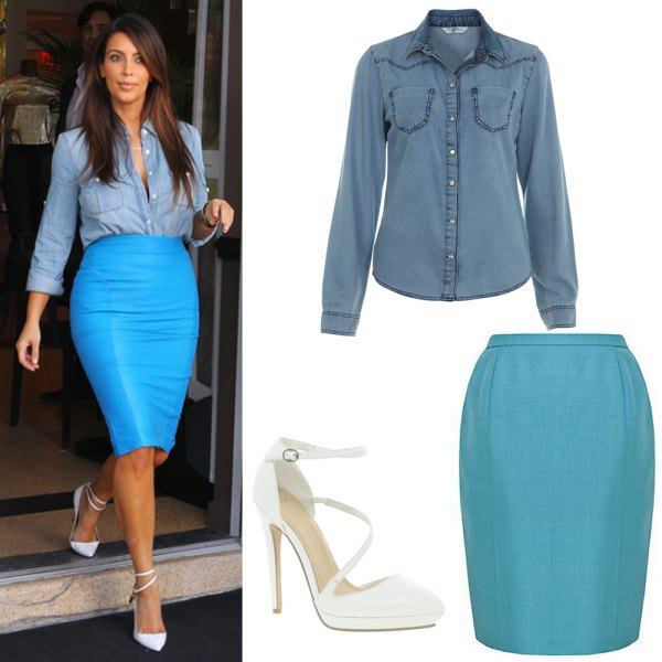 teal chambray shirt with sky blue pencil skirt